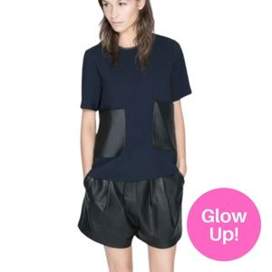 Glow Up - Zara Leather Accent T-Shirt Navy Black S